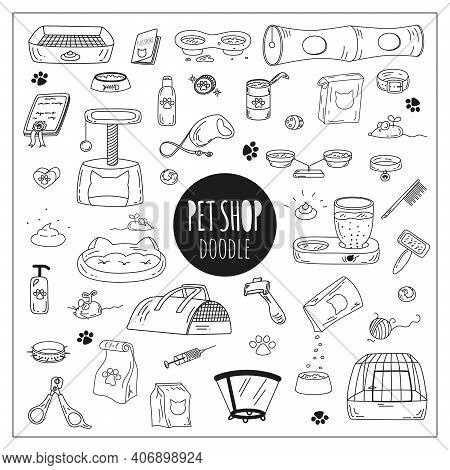 Cute Doodle Pet Shop Icons. Cat And Dog Accessories And Stuff In A Hand-drawn Style. Black Vector Ou