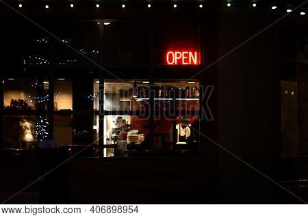 Whistler, Bc, Canada - Feb 2, 2021: Restaurant Open Sign During Covid 19 Restrictions In Whistler, B