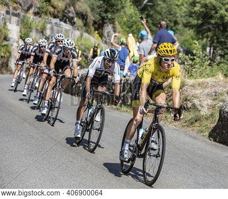 Pont-de-montvert-sud-mont-lozere, France - July 21, 2018: The Colombian Cyclist Egan Arley Bernal Of