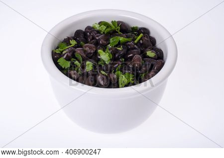 Dark Red Canned Beans In White Bowl