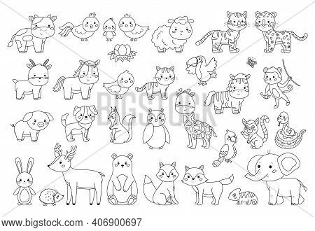 Big Animals Set For Coloring Book. Outline Vector Illustration For Children. Cute Cartoon Characters