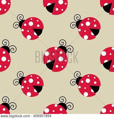 Ladybugs Seamless Background Repeating Pattern, Wallpaper Background, Cute Seamless Pattern Backgrou