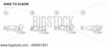 Knee To Elbow In Low Plank Or Elbow Plank Female Exercise Workout Guide Illustration.