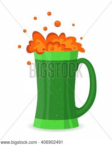 St Patrick's Day Green Beer In Flat Cartoon Style. Vector Mug With Cold Beer On White. Saint Patrick