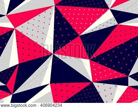 Triangles Seamless Background, Messy Chaotic Vector Pattern, Particles Design Pattern For Wallpaper