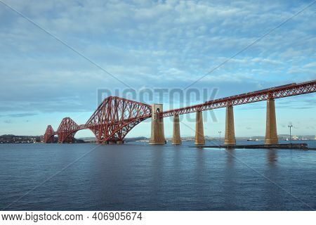 View Of Forth Rail Bridge And A Moving Train. View Of Forth Rail Bridge, The Worlds Longest Cantilev