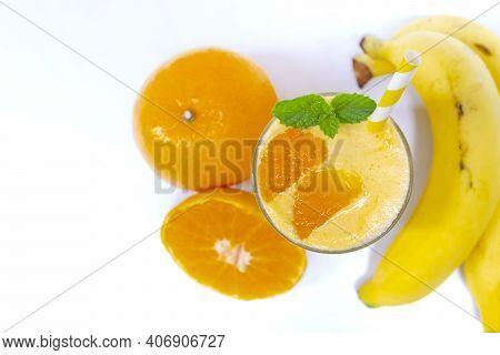 Banana And Orange Smoothies Yellow Colorful Fruit Juice Milkshake Blend Beverage Healthy High Protei