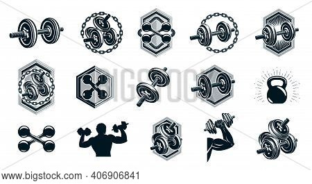 Gym Fitness Sport Emblems And Logos Vector Set Isolated With Barbells Dumbbells Kettlebells And Musc