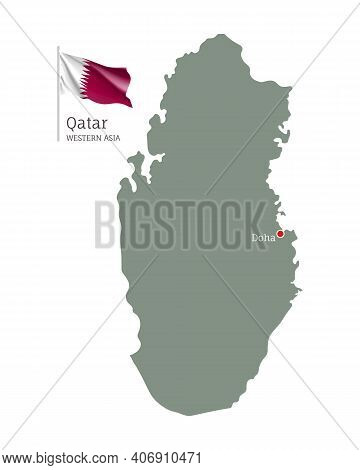 Silhouette Of Qatar Country Map. Highly Detailed Editable Map Of Qatar With National Flag And Doha C