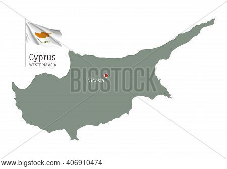 Silhouette Of Cyprus Country Map. Highly Detailed Editable Map Of Cyprus With National Flag And Nico