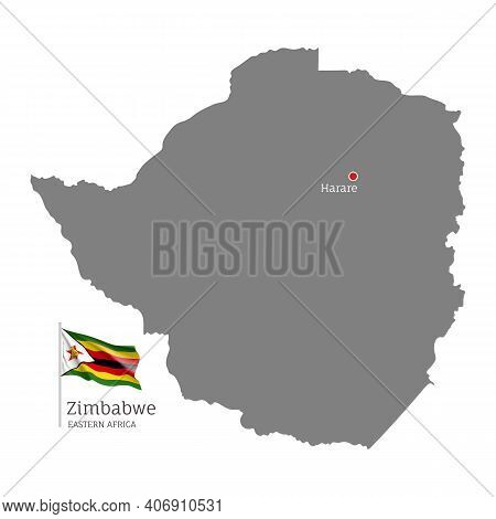 Silhouette Of Zimbabwe Country Map. Gray Detailed Editable Map With Waving National Flag And Harare