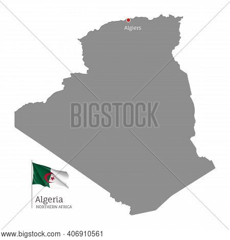 Silhouette Of Algeria Country Map. Gray Editable Map With Waving National Flag And Algiers City Capi