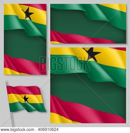 National Waving Flag Of Ghana Backdrops Collection. African Country Flag Backdrop Can Be Used For Ce