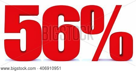 56 Percent Off 3d Sign On White Background, Special Offer 56% Discount Tag, Sale Up To 56 Percent Of