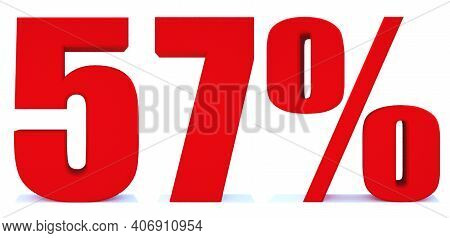 57 Percent Off 3d Sign On White Background, Special Offer 57% Discount Tag, Sale Up To 57 Percent Of