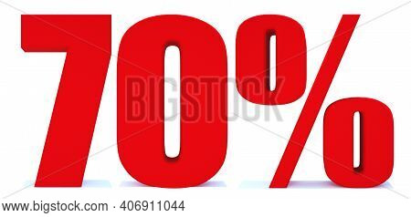 70 Percent Off 3d Sign On White Background, Special Offer 70% Discount Tag, Sale Up To 70 Percent Of