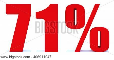 71 Percent Off 3d Sign On White Background, Special Offer 71% Discount Tag, Sale Up To 71 Percent Of