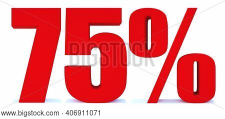 75 Percent Off 3d Sign On White Background, Special Offer 75% Discount Tag, Sale Up To 75 Percent Of