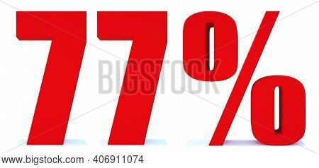 77 Percent Off 3d Sign On White Background, Special Offer 77% Discount Tag, Sale Up To 77 Percent Of