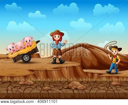 Cowboy And Cowgirl Herding Pigs In The Desert