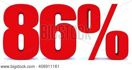 86 Percent Off 3d Sign On White Background, Special Offer 86% Discount Tag, Sale Up To 86 Percent Of