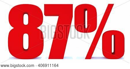87 Percent Off 3d Sign On White Background, Special Offer 87% Discount Tag, Sale Up To 87 Percent Of