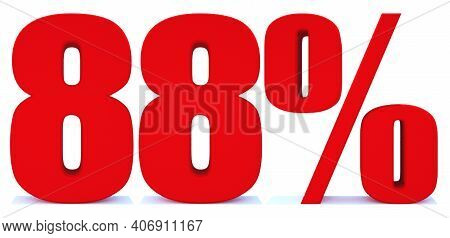 88 Percent Off 3d Sign On White Background, Special Offer 88% Discount Tag, Sale Up To 88 Percent Of