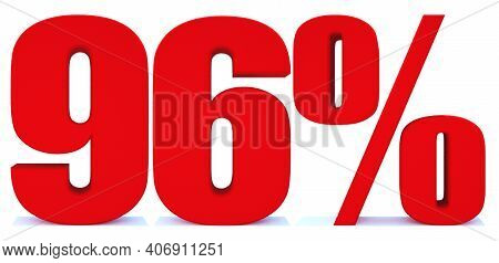 96 Percent Off 3d Sign On White Background, Special Offer 96% Discount Tag, Sale Up To 96 Percent Of