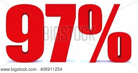 97 Percent Off 3d Sign On White Background, Special Offer 97% Discount Tag, Sale Up To 97 Percent Of