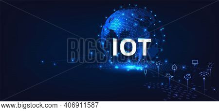Global Network Connection.iot Concept. Internet Of Things. Global Network Connection. Communication