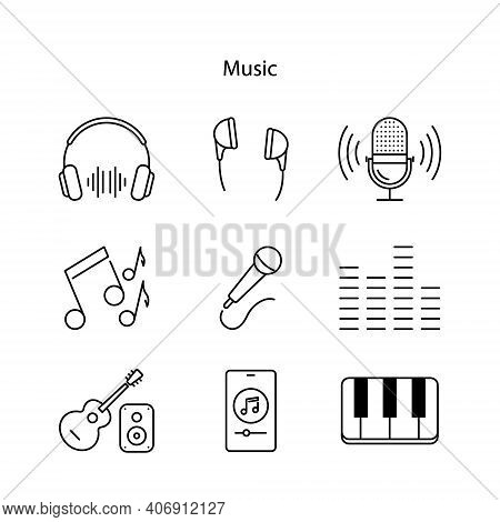 Entertainment Technology Icons Set, Line Icons Set Of Music