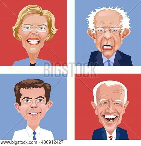 Asheville, Nc. January 23, 2021. Cartoon Heads Of Massachusetts Senator Elizabeth Warren, Vermont Se