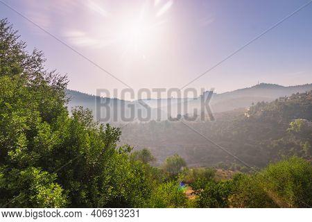 Jerusalem Mountains At Sunrise Image From The Sataf Nature Reserve, Hdr
