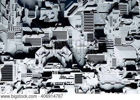 Detail Of A Futuristic  Machine. 3d Illustration Of A Futuristic Wall Made Of Various Details Under