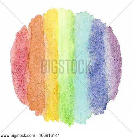 Round Watercolor Frame Made Of Lines Lgbtq Colors, Background With Copy Space. Hand-drawn Colorful D