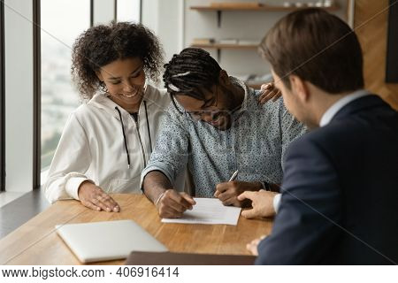 Happy African Couple Consulting With Trusted Expert Lawyer Sign Contract