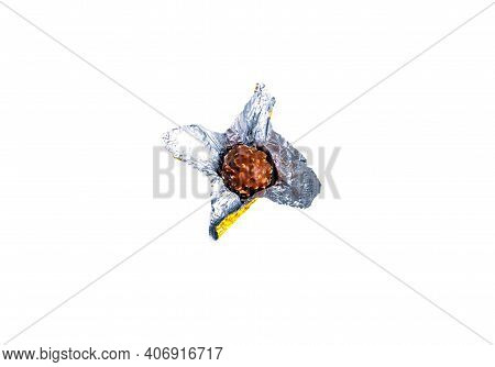Round Chocolate Candies In A Foil Wrapper On A White Background. Sweet Cake. Silver Wrapper. Shiny F