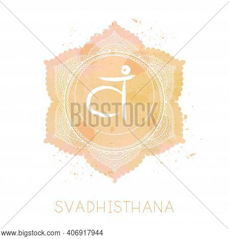 Vector Illustration With Symbol Chakra Svadhishana And Watercolor Element On White Background. Circl