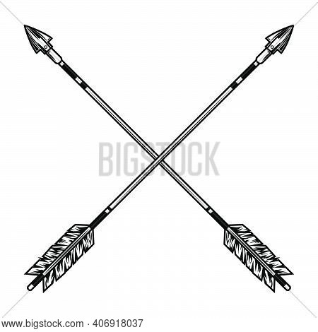 Crossed Arrows Vector Illustration. Medieval Weapon, War Or Battle Accessory. History Or Fight Conce
