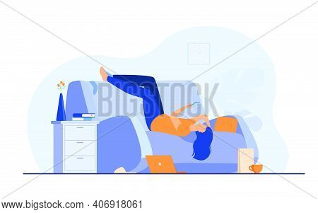 Lazy Depressed Woman Resting In Couch With Smartphone After Making Mess At Home. Vector Illustration