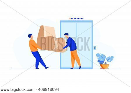 Loaders Carrying Furniture During Moving. Two Men Holding Armchair At Elevator Flat Vector Illustrat