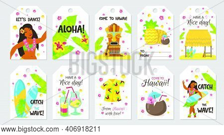 Cute Tropical Tag. Gift Tags With Girl, Coconut, Surfboard. Pineapple, Guitar, Cocktails, Aloha. Vec
