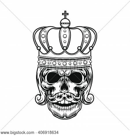 Skull Of Monarch Vector Illustration. Head Of King Or Tsar With Beard, Royal Hairdo And Crown. Autho