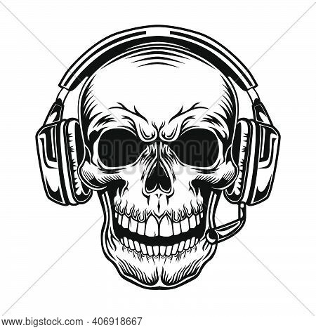 Skull With Headset Vector Illustration. Head Of Character In Headphones. Sound Technology Concept Fo
