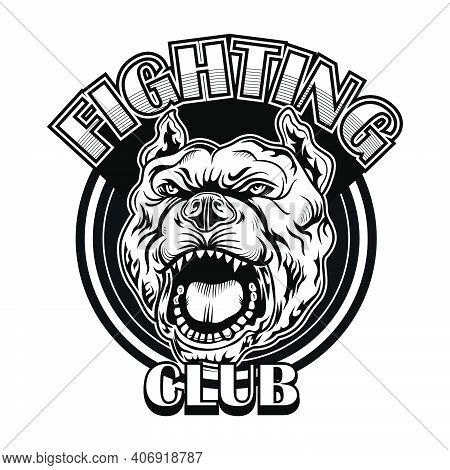 Fight Club Emblem With Bulldog. Boxing And Fighting Club Logo With Angry Dog. Isolated Vector Illust