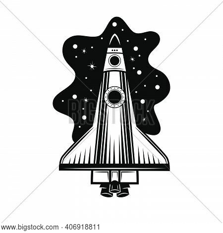 Space Rocket Vector Illustration. Spaceship, Spacecraft, Shuttle. Cosmos Concept For Outer Space Exp