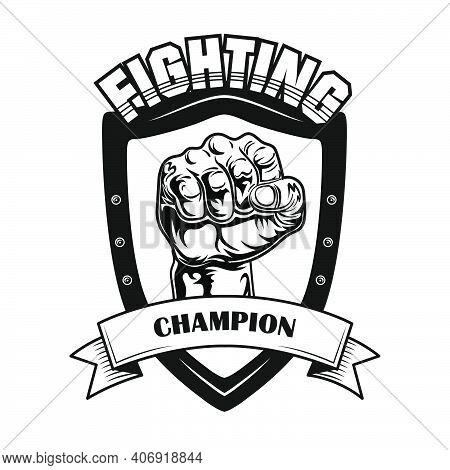 Fighting Champion Symbol Vector Illustration. Fists On Heraldry Ir Patch, Text On Ribbon. Lifestyle