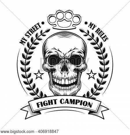 Street Fight Champion Vector Illustration. Skull Of Competition Winner With Award Decoration And Tex