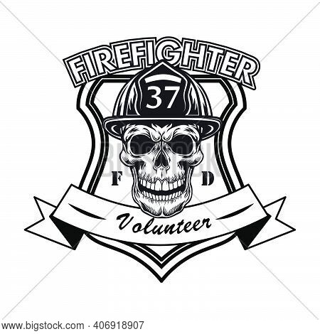 Firefighter Volunteer Badge With Skull Vector Illustration. Head Of Character In Helmet With Number