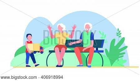 Senior Couple Looking After Grandson Outdoors. Boy Carrying Toy To Grandparents Flat Vector Illustra